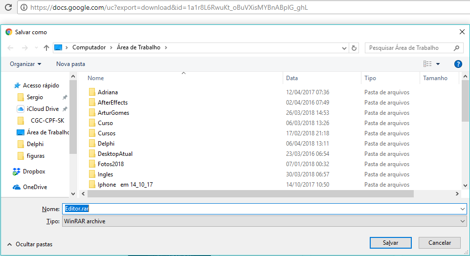 como colocar arquivos para download