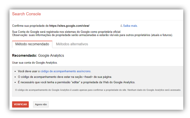 verificar site no google